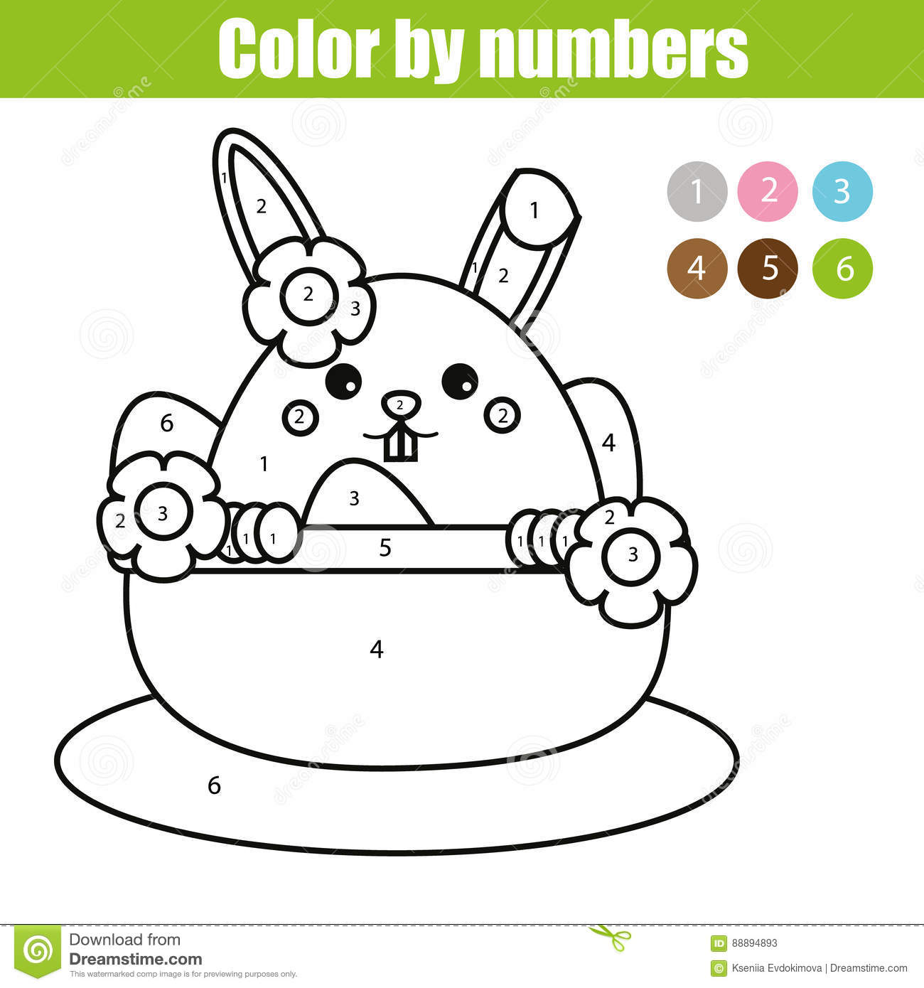 Coloring Page With Easter Bunny Character  Color By