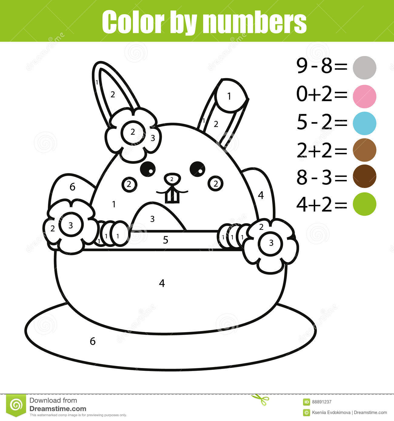 Coloring by numbers for rabbits - Royalty Free Vector Download Coloring Page With Easter Bunny