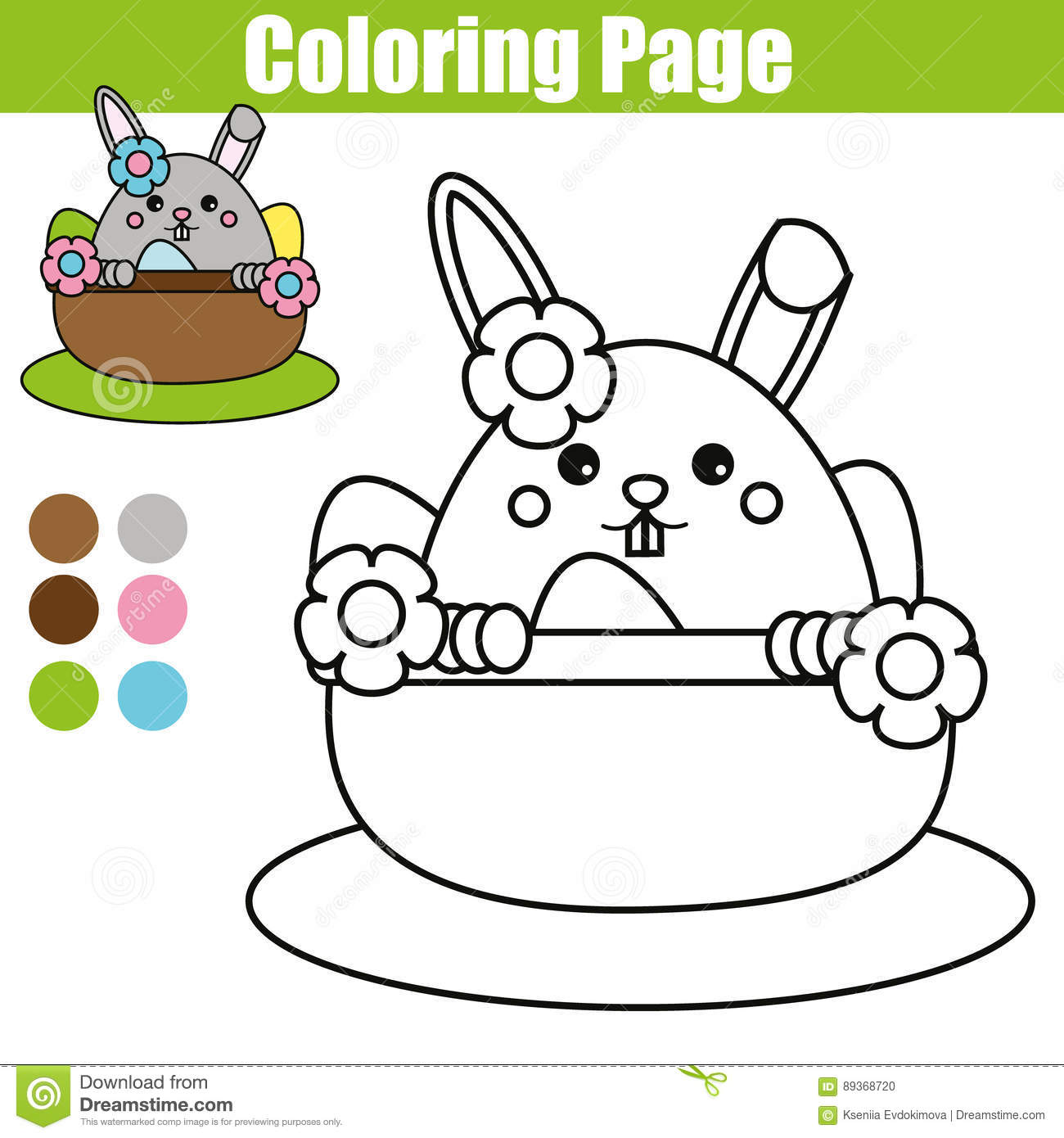 coloring page with easter bunny character printable worksheet