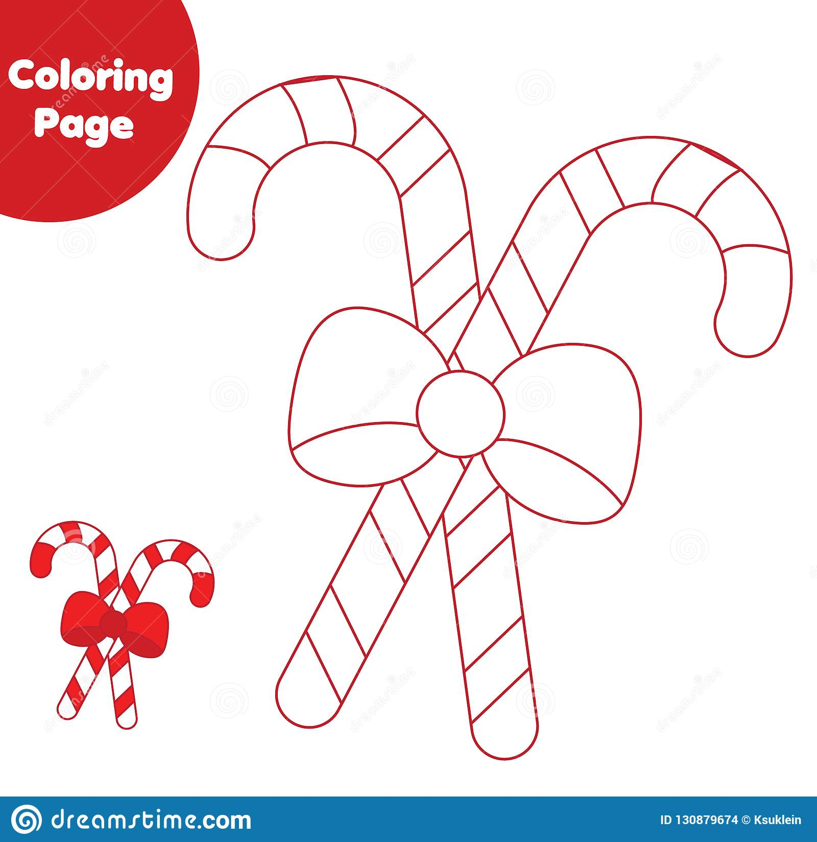 Coloring Page Educational Children Game Color Candy Canes