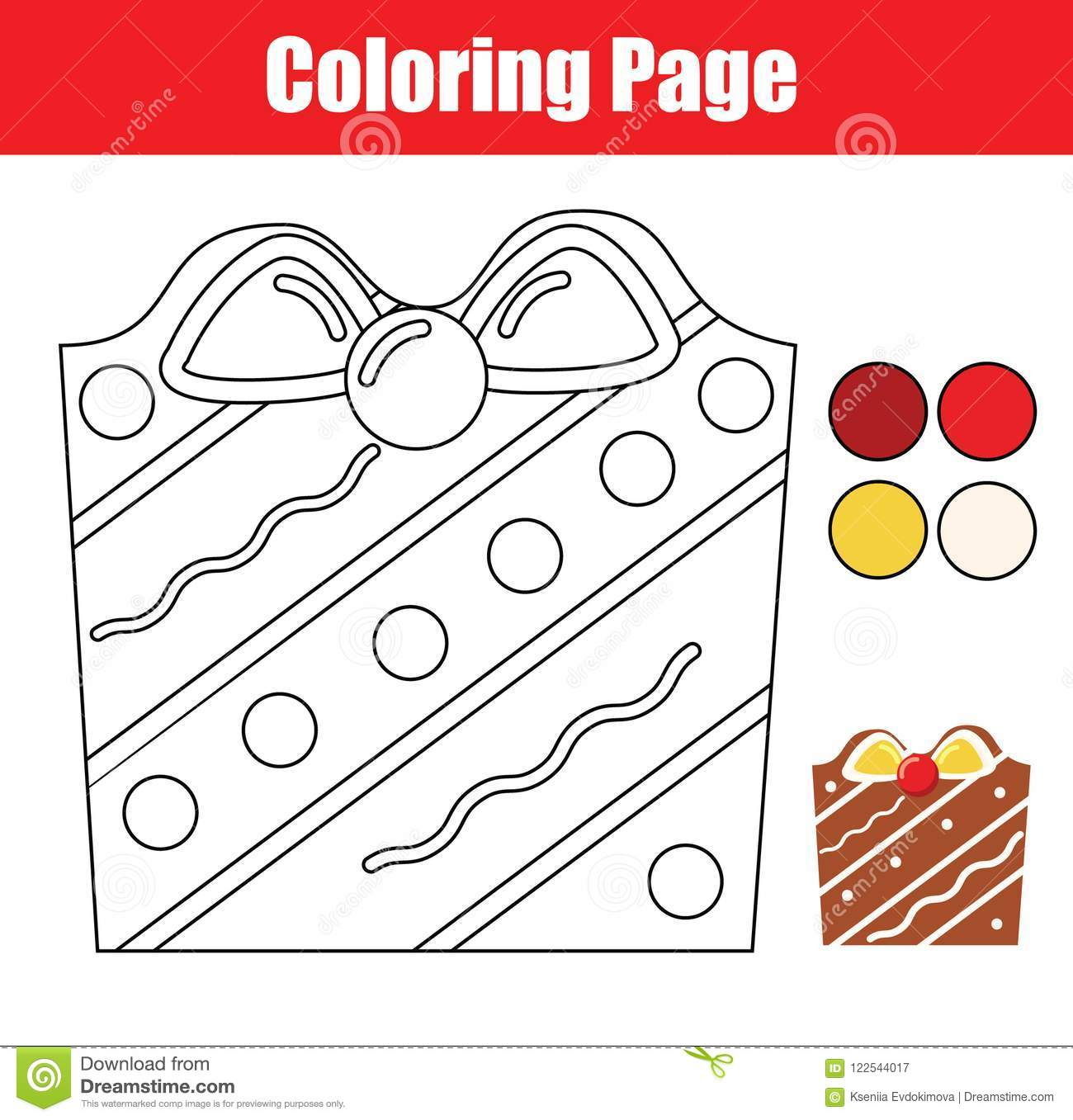 Coloring Page. Educational Children Game. Color Christmas Cookie ...