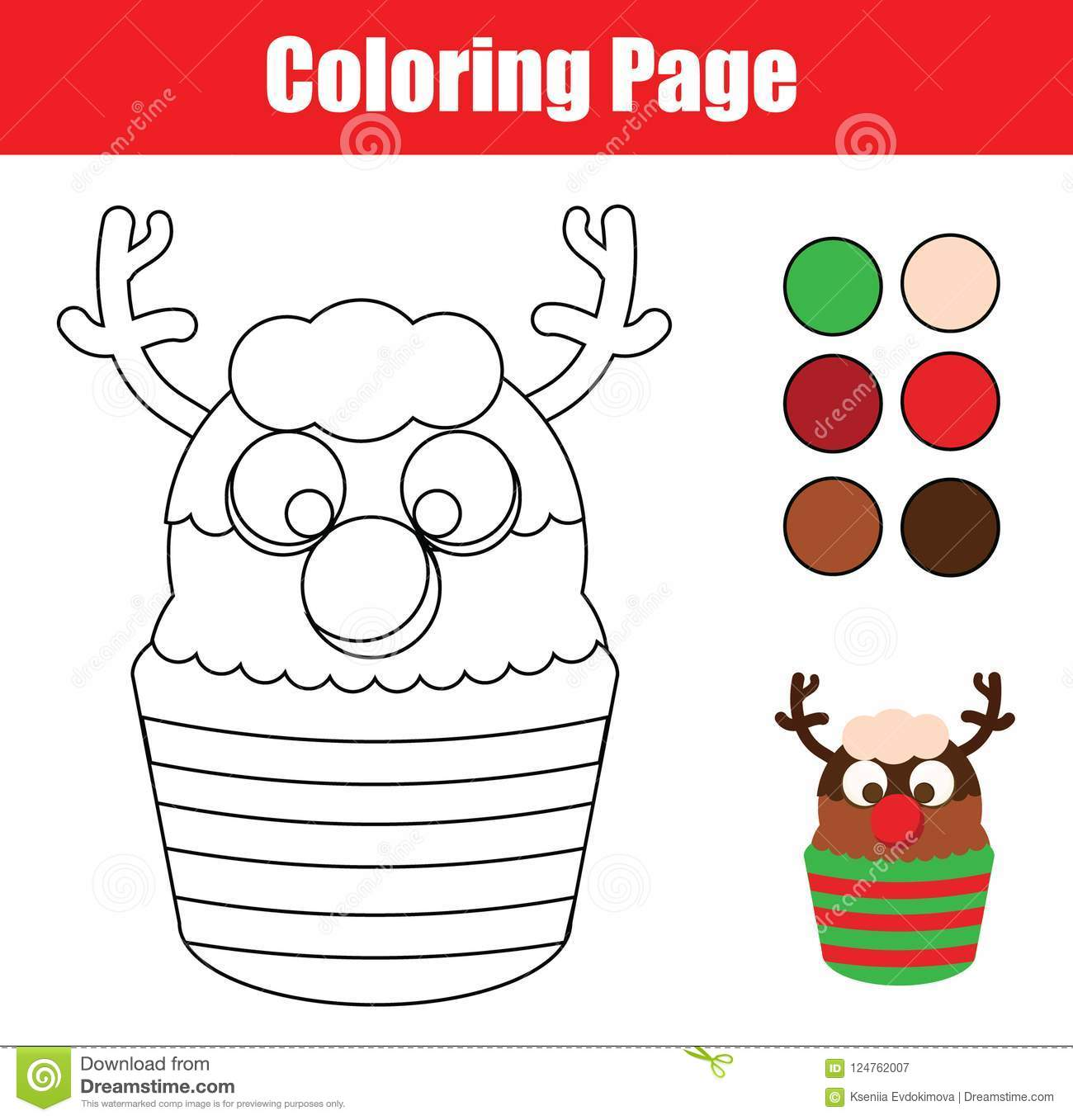 Coloring Page. Educational Children Game. Color Christmas ...