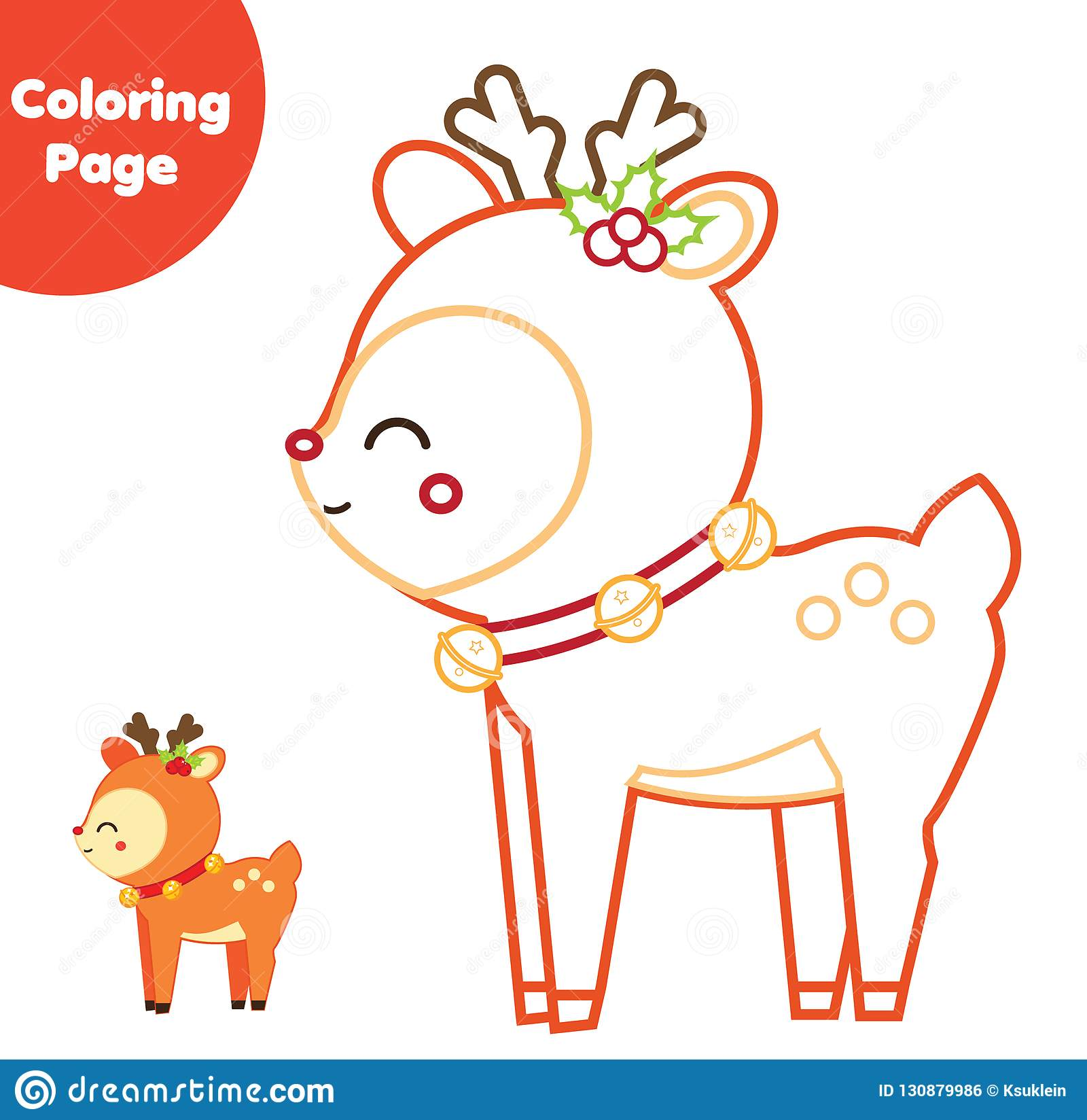 Coloring Page Educational Children Game Color Christmas Deer