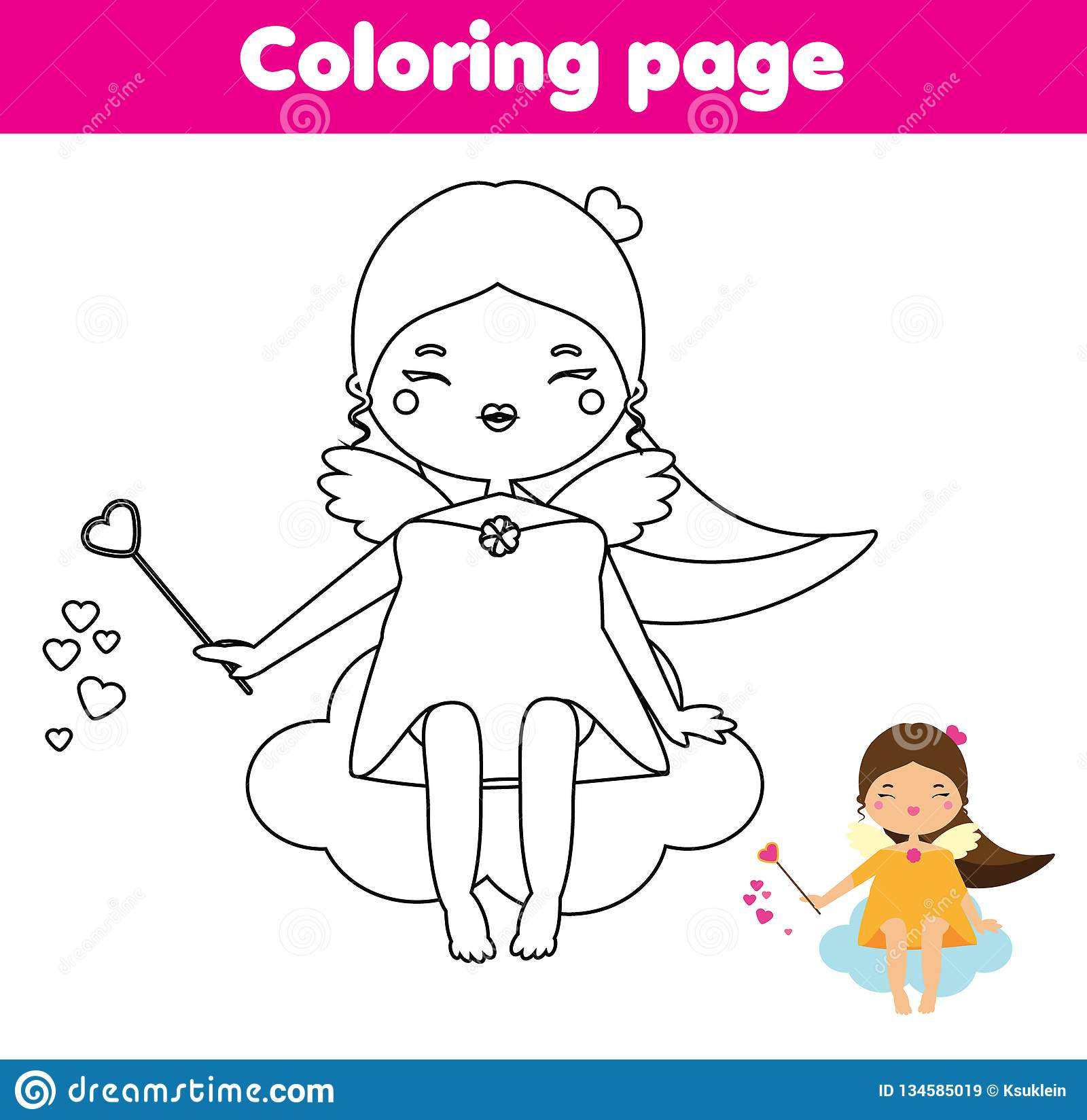 Coloring Page Educational Children Game Color Christmas Valentines Day Cupid Angel Drawing Kids Printable Activity Stock Vector Illustration Of Kindergarten Activity 134585019