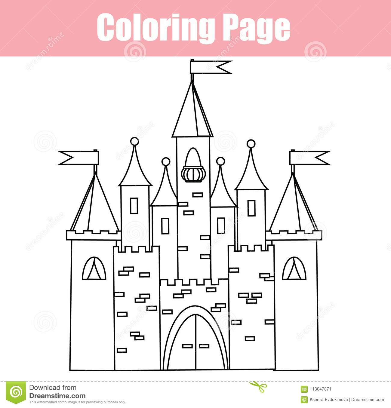 Download Coloring Page Educational Children Game Fairy Castle Drawing Kids Printable Activity