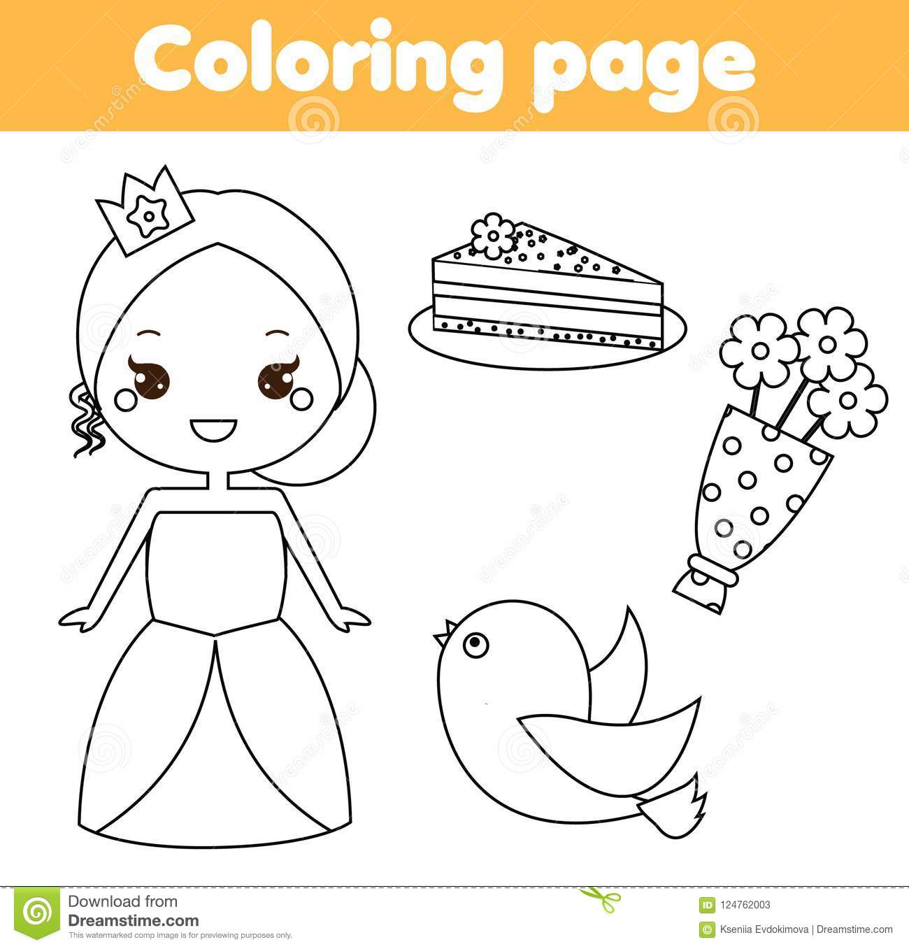 Educational children game princess theme drawing kids printable activity