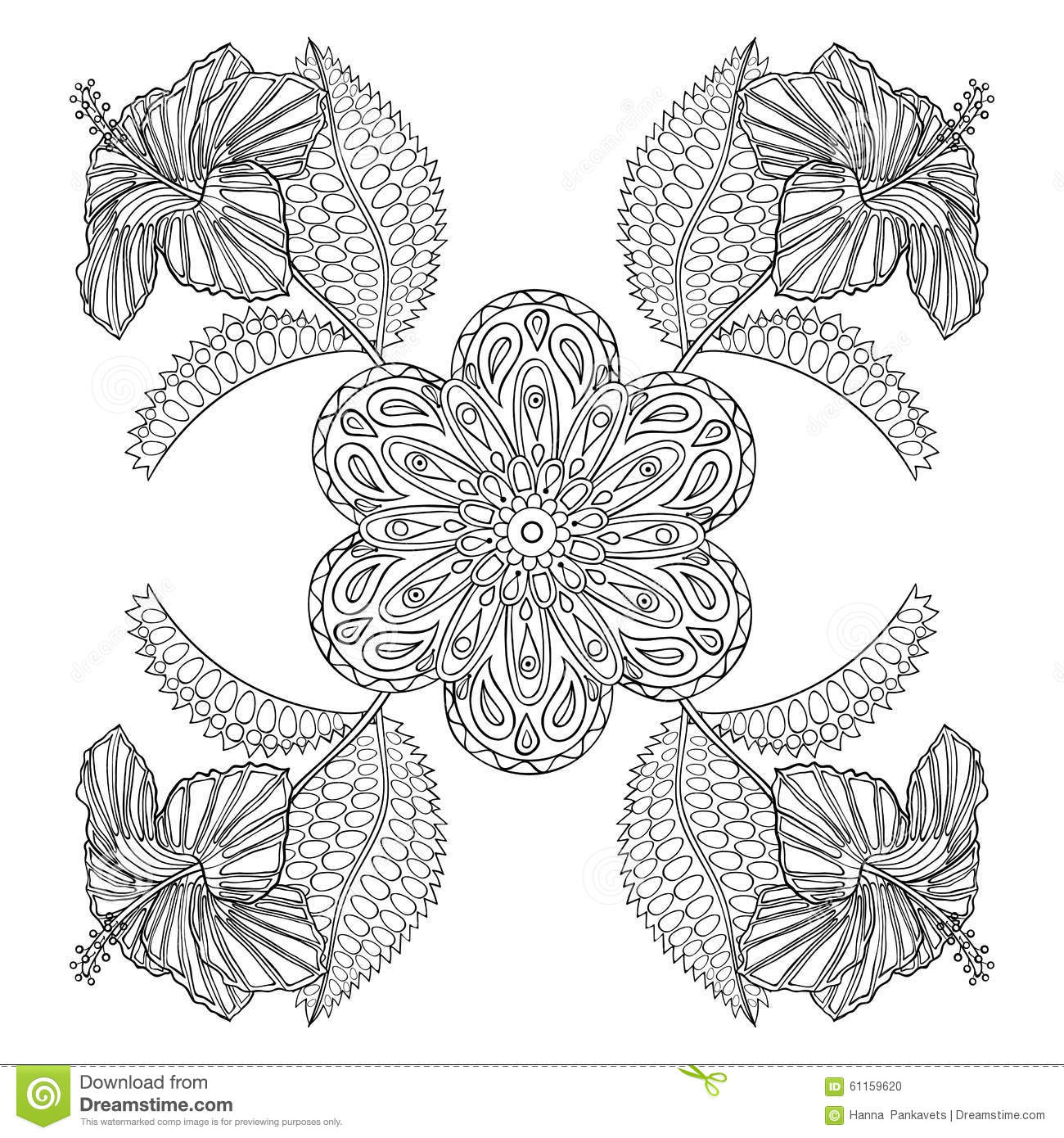 Coloring Page With Exotic Flowers Zentangle Illustartion
