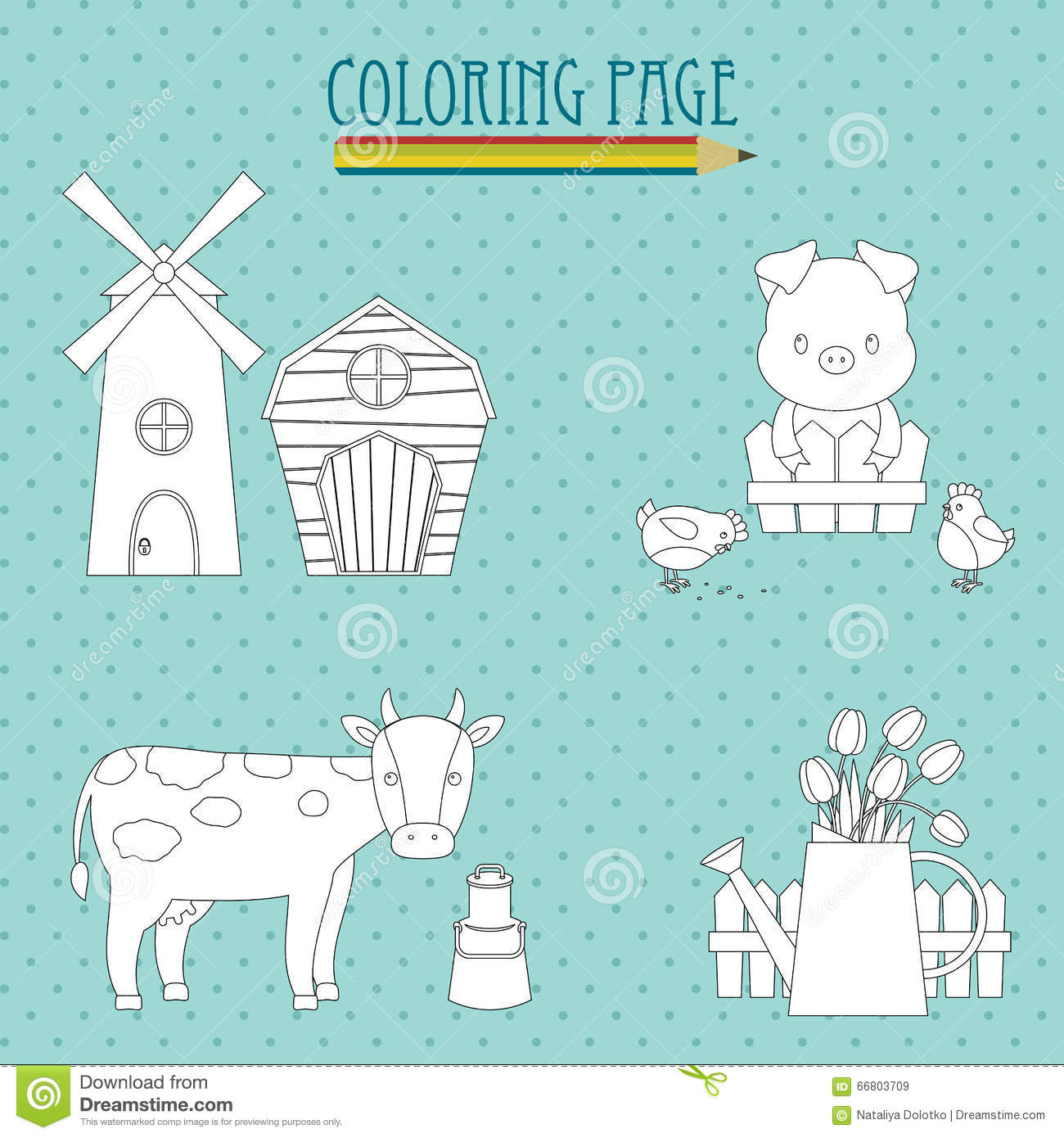 Coloring page. Farm stock vector. Illustration of farm - 66803709