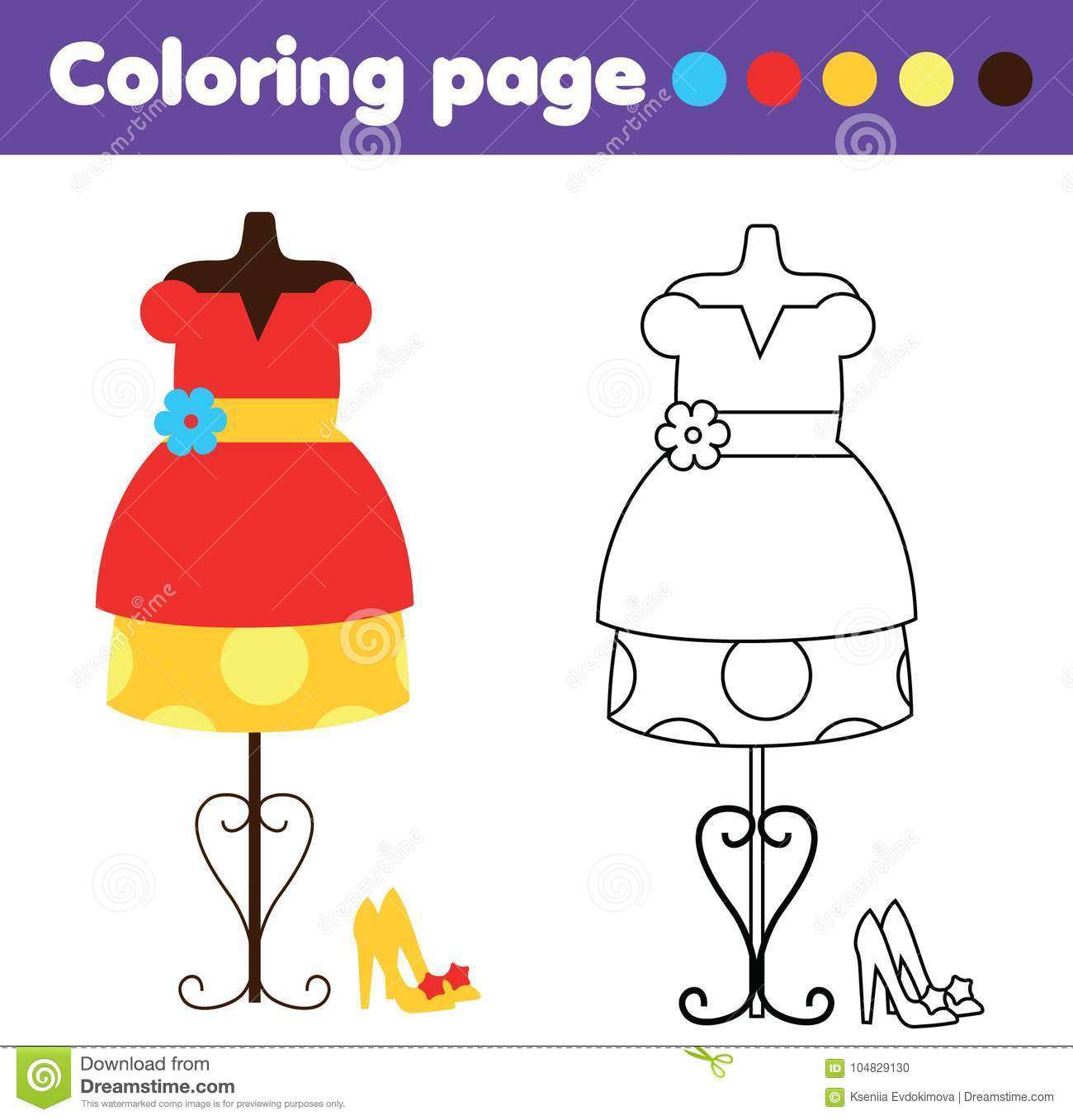 Coloring Page With Fashion Dress And Shoes Drawing Kids Game Printable Activity Stock Vector Illustration Of Coloring Children 104829130