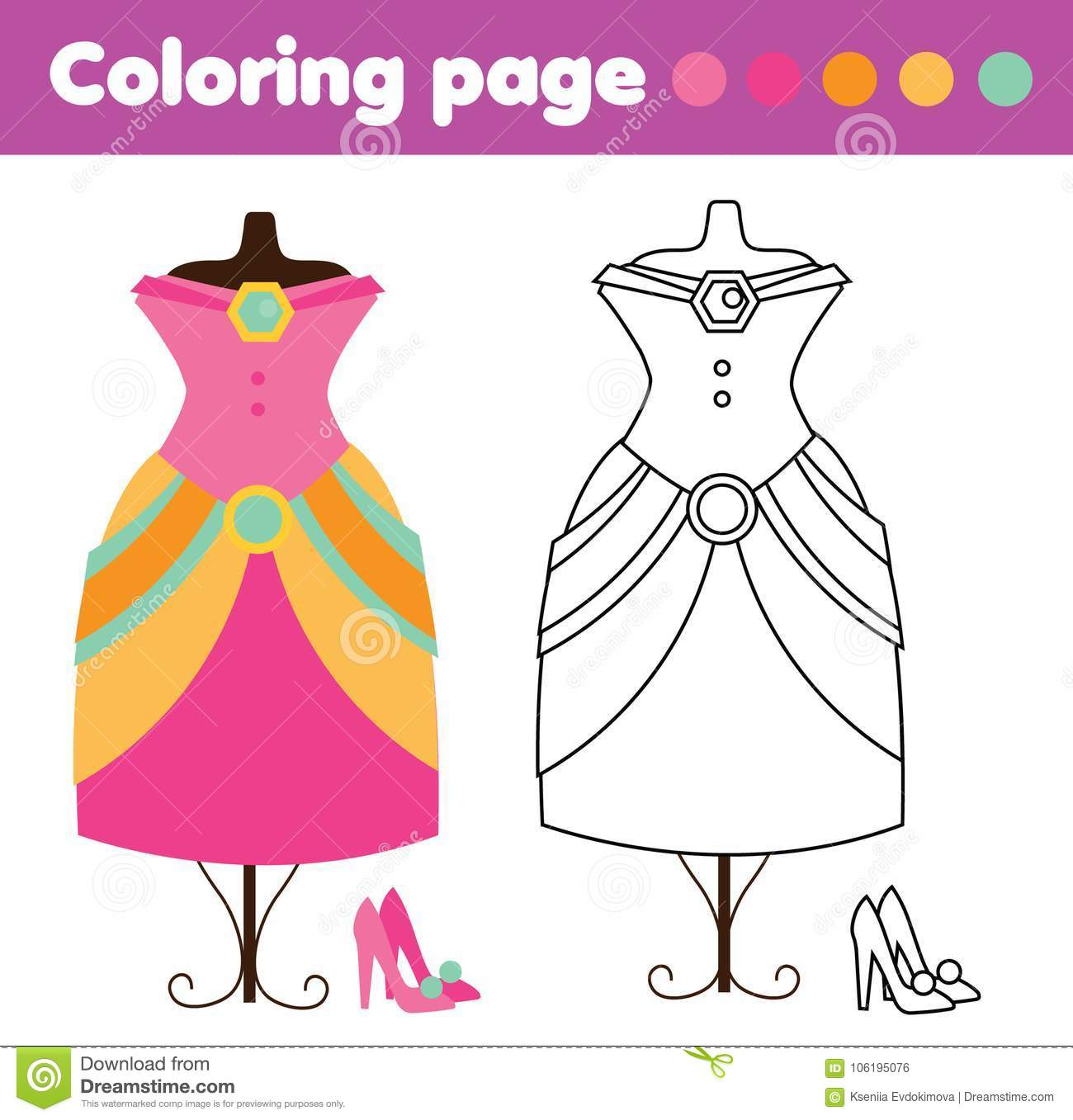 Coloring Page With Fashion Dress And Shoes Drawing Kids Game Printable Activity Stock Vector Illustration Of Classes Homework 106195076