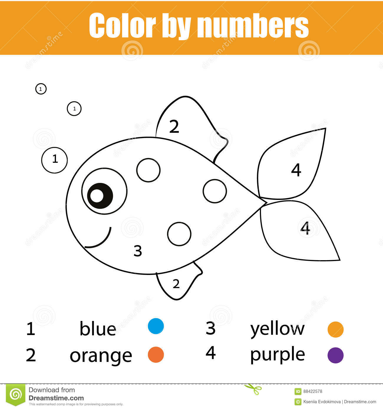 Download Coloring Page With Fish Character. Color By Numbers Educational  Children Game, Drawing Kids