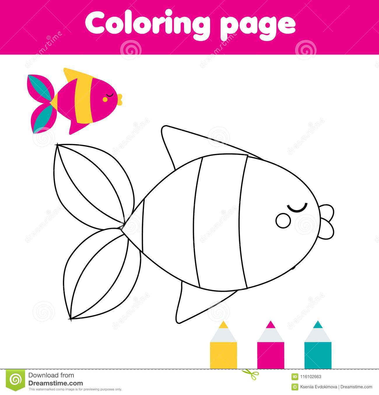 Coloring Page With Fish. Drawing Kids Activity For Toddlers Stock ...