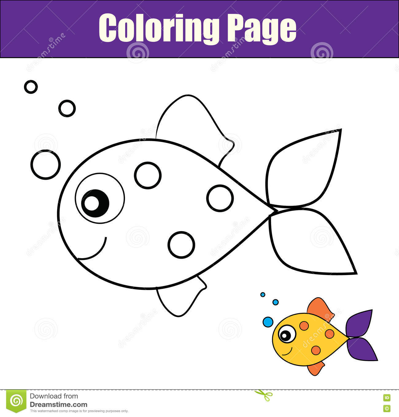 Coloring Page With Fish. Educational Game, Printable Drawing Kids ...