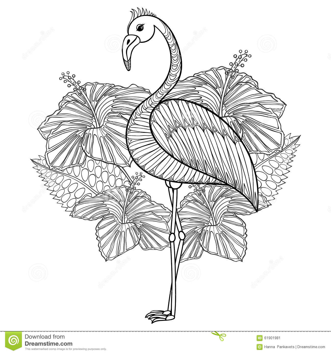 Coloring Page With Flamingo In