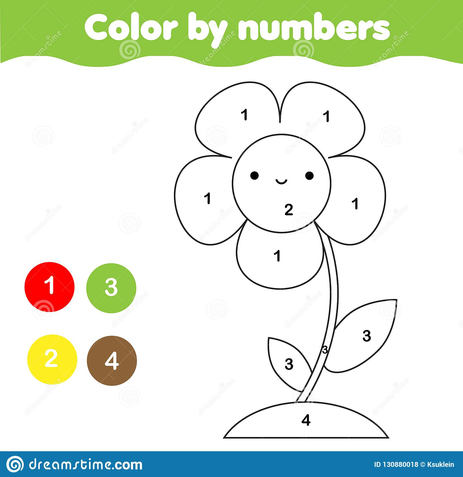 Coloring Page With Flower. Color By Numbers Printable Activity For ...