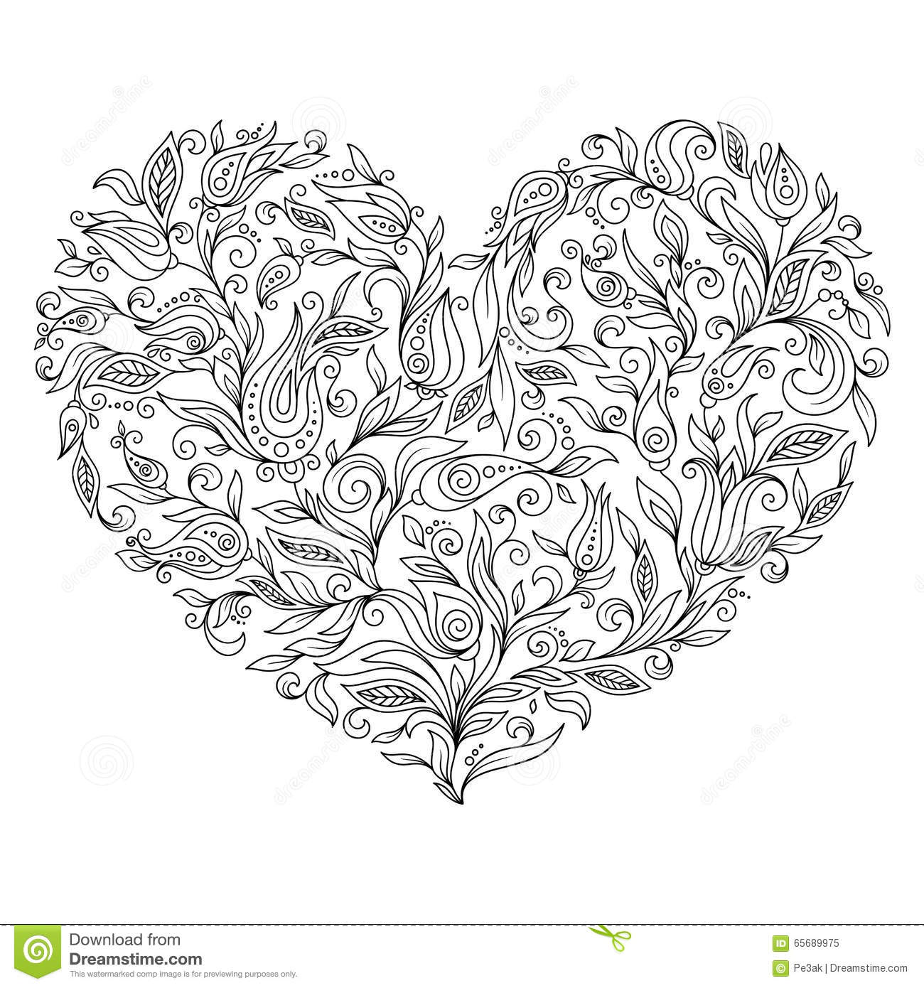 Coloring Page Flower Heart St Valentines Day Stock