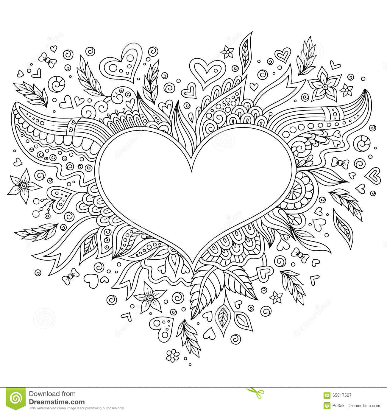 flower and hearts coloring pages | Coloring Page Flower Heart St Valentine's Day Stock Vector ...