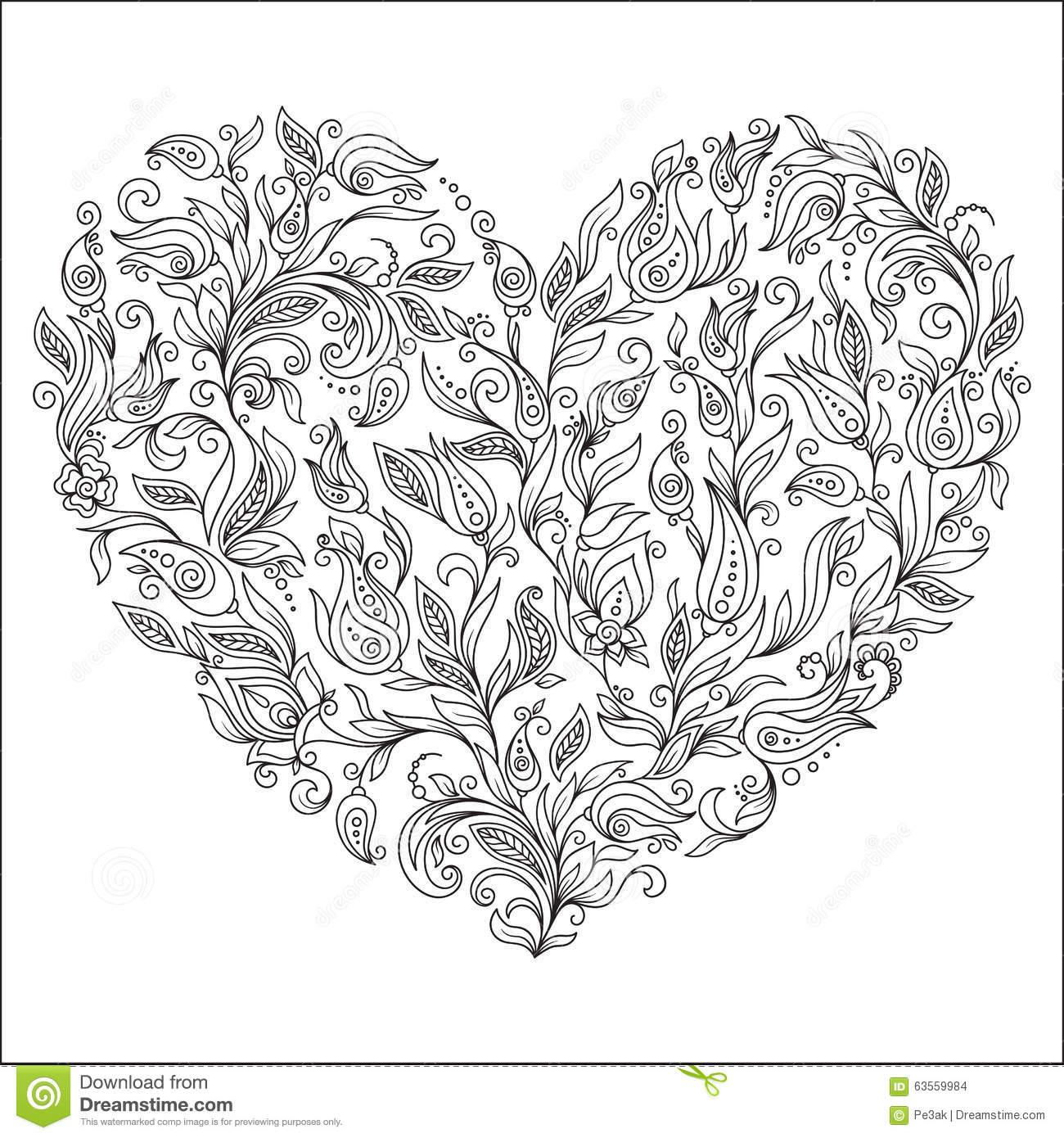 coloring page flower heart st valentine u0027s day stock illustration
