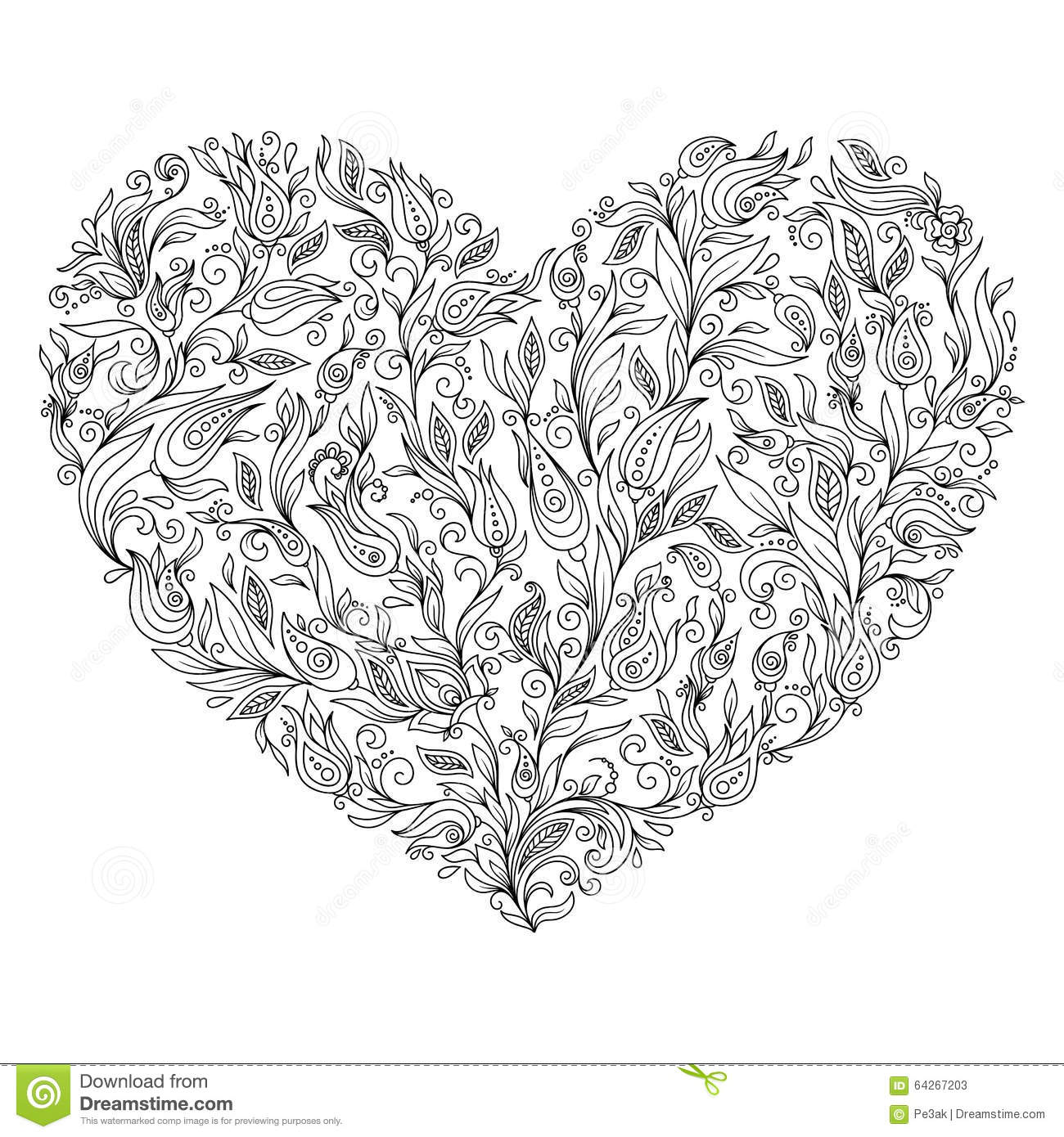 Coloring Page Flower Heart St Valentine\'s Day Greeting Card Stock ...