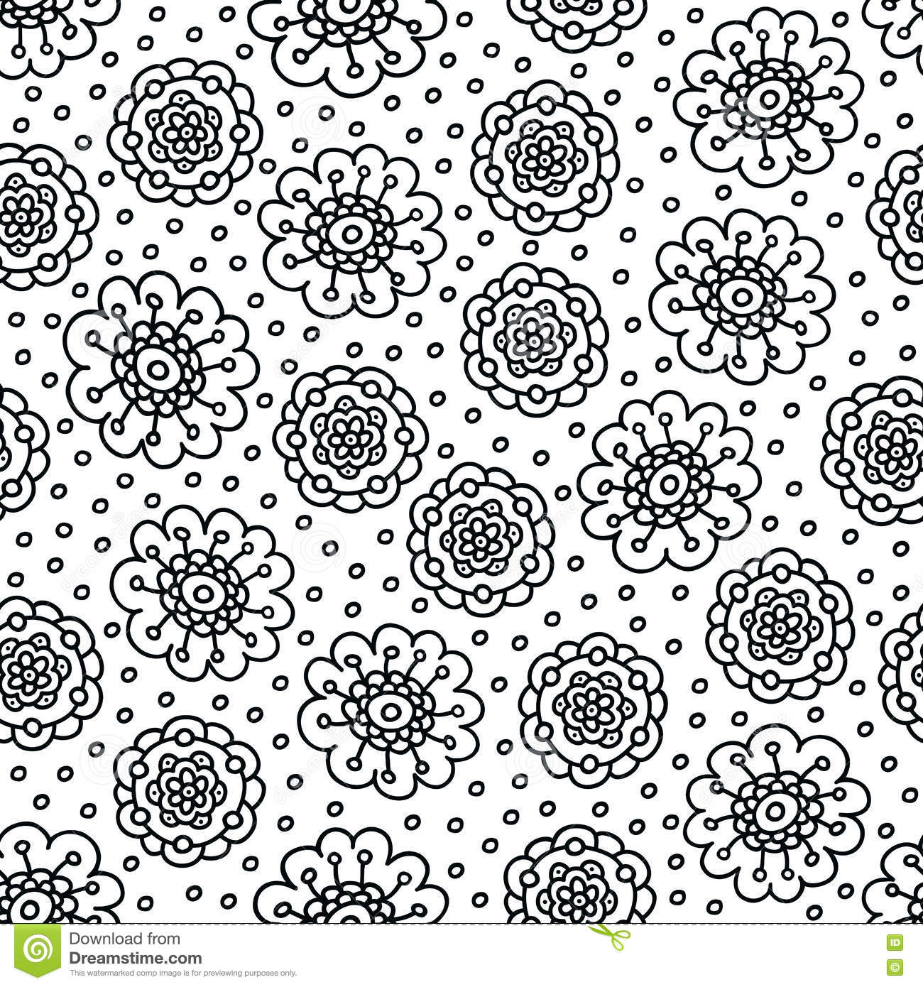 Coloring Page Flower Pattern. Seamless Hand Drawn Background For ...