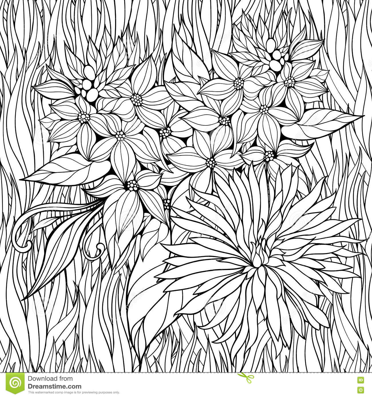 coloring page with flowers in a grass stock vector image 72270902