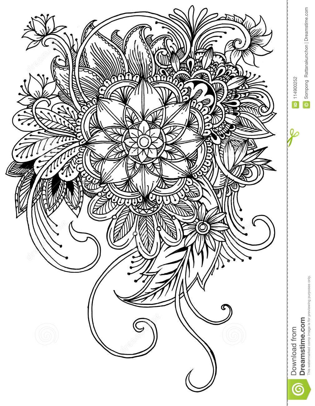 Coloring Page With Flowers And Leaves Stock Vector Illustration