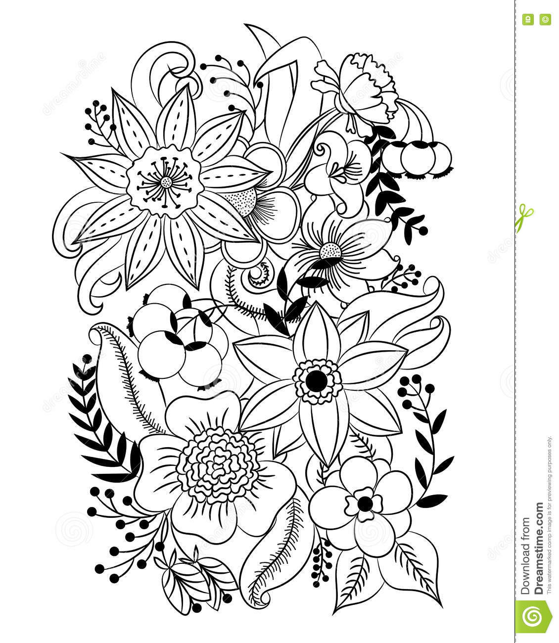 Coloring Page With Flowers And Leaves Stock Vector - Illustration of ...