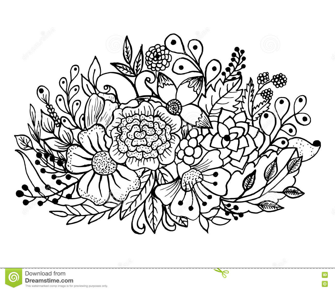 Coloring Page With Flowers And Leaves Stock Vector ...