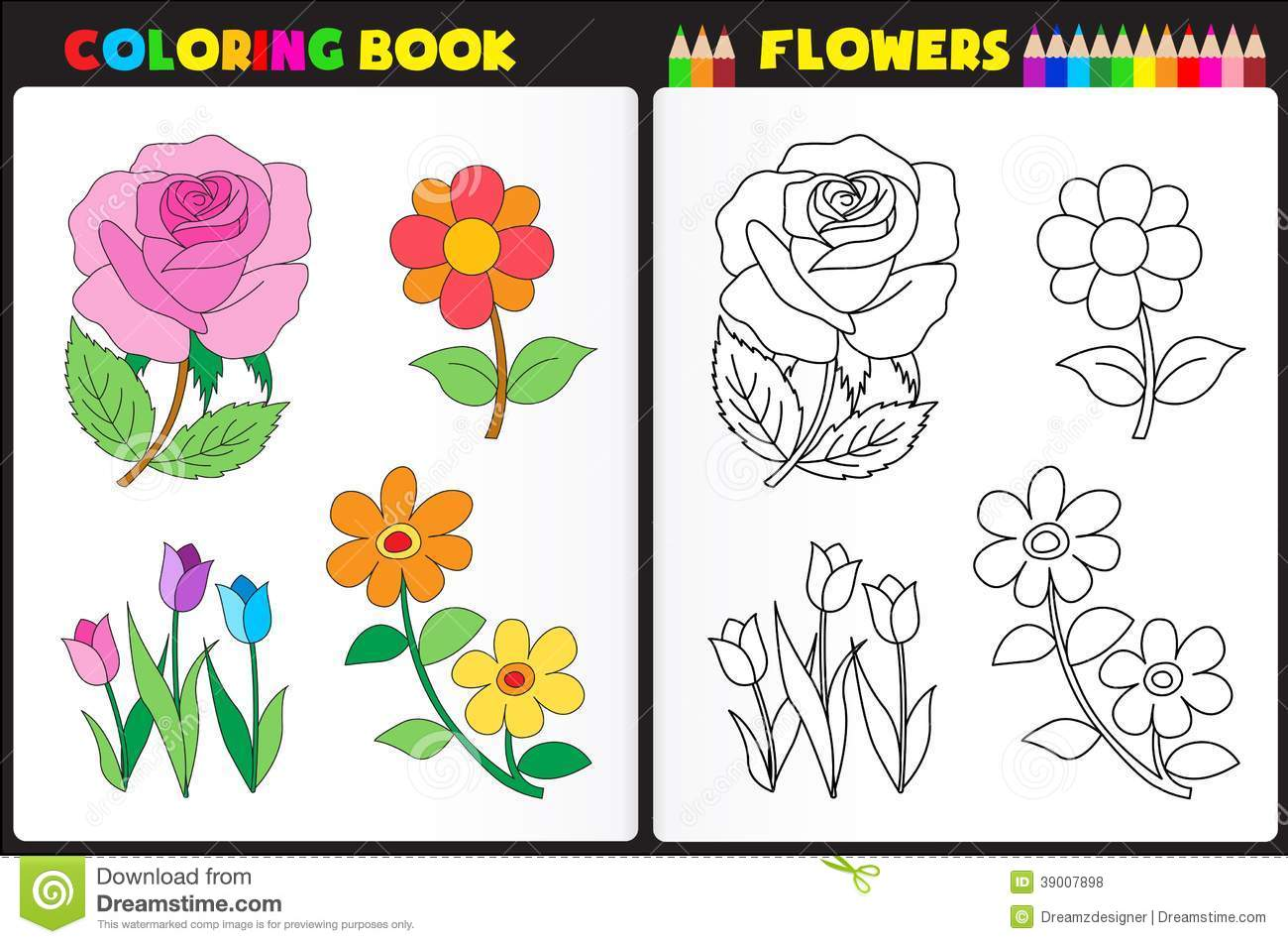 Coloring Page Flowers Stock Vector Illustration Of Activity