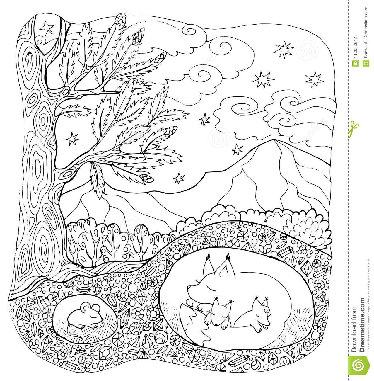 Coloring Page Forest Animals Stock Vector Illustration Of