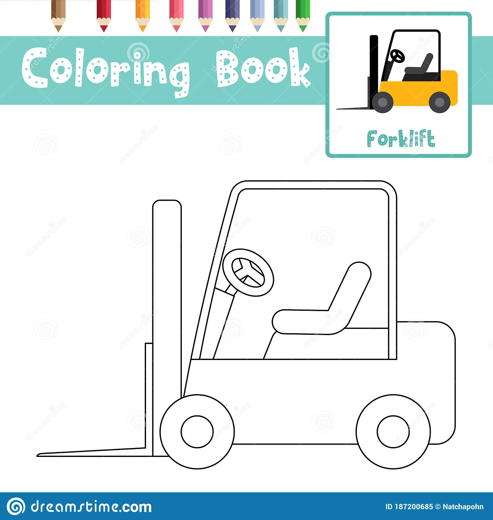 Coloring Page Forklift Cartoon Character Side View Vector ...