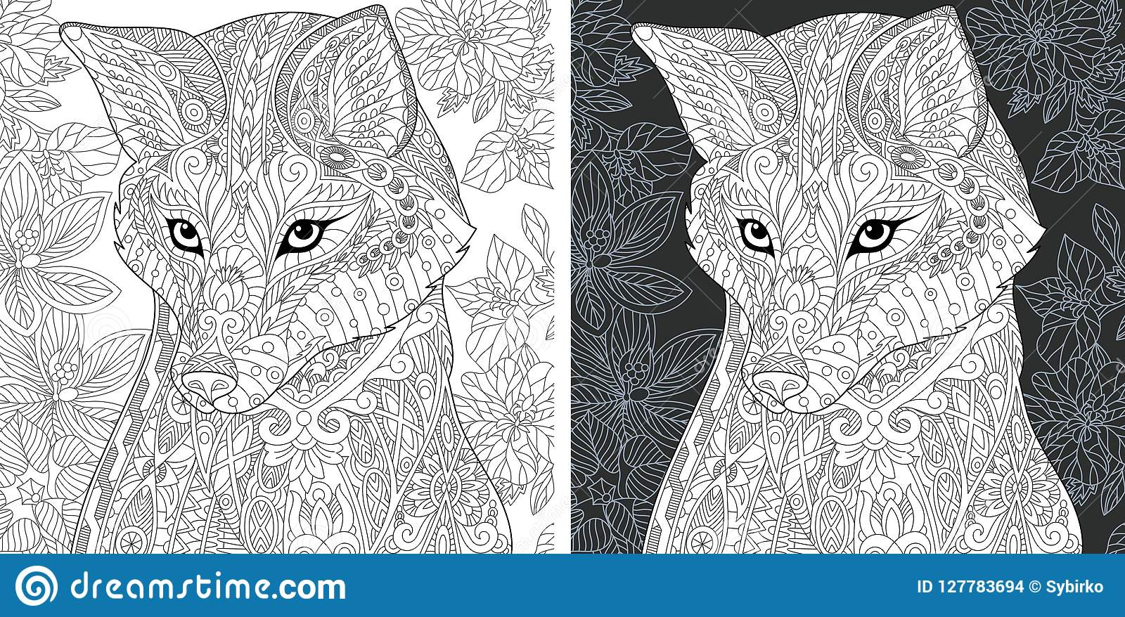 Coloring page with fox