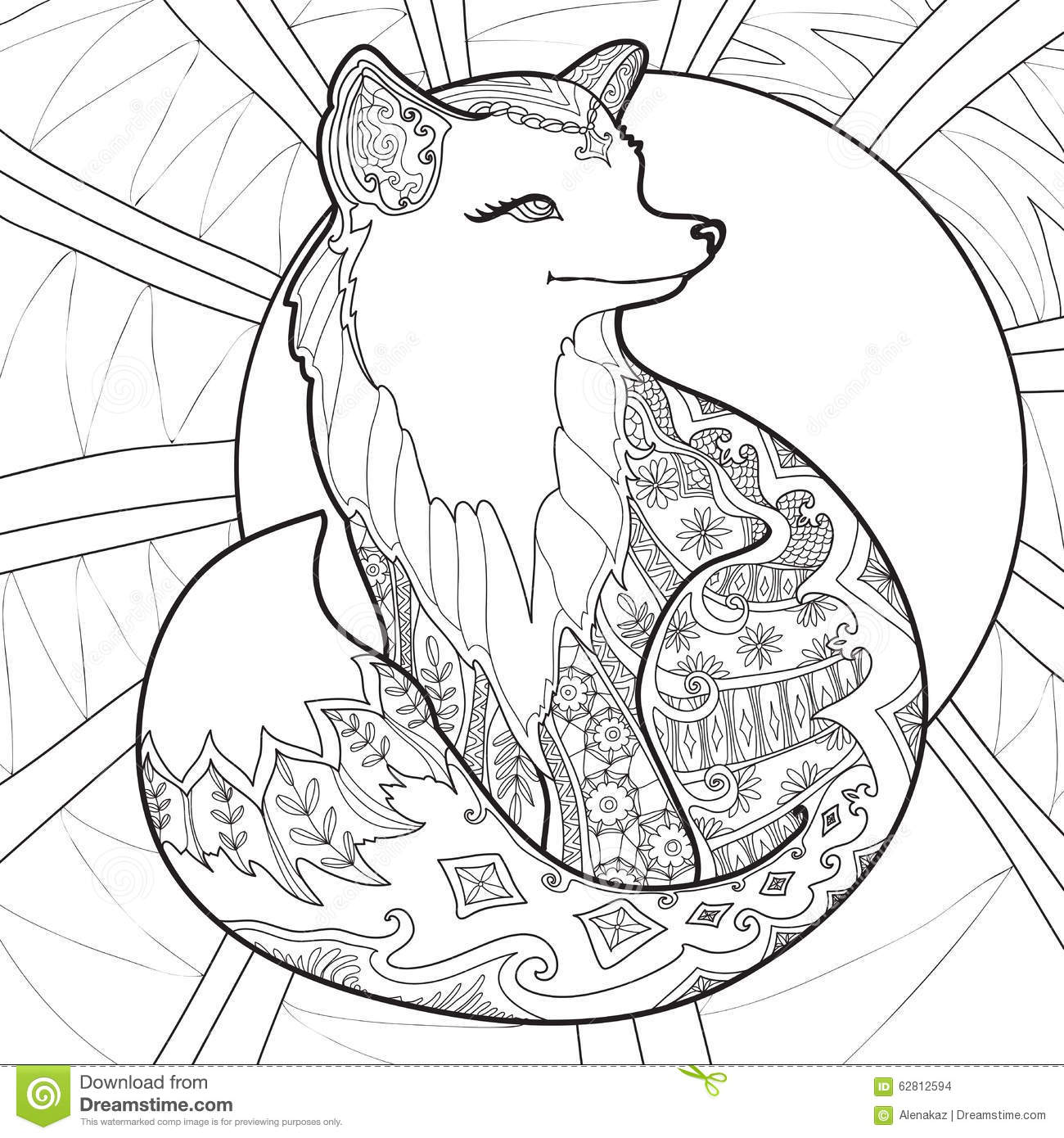 Coloring Pages Abstract Printable : Coloring page with fox stock vector image