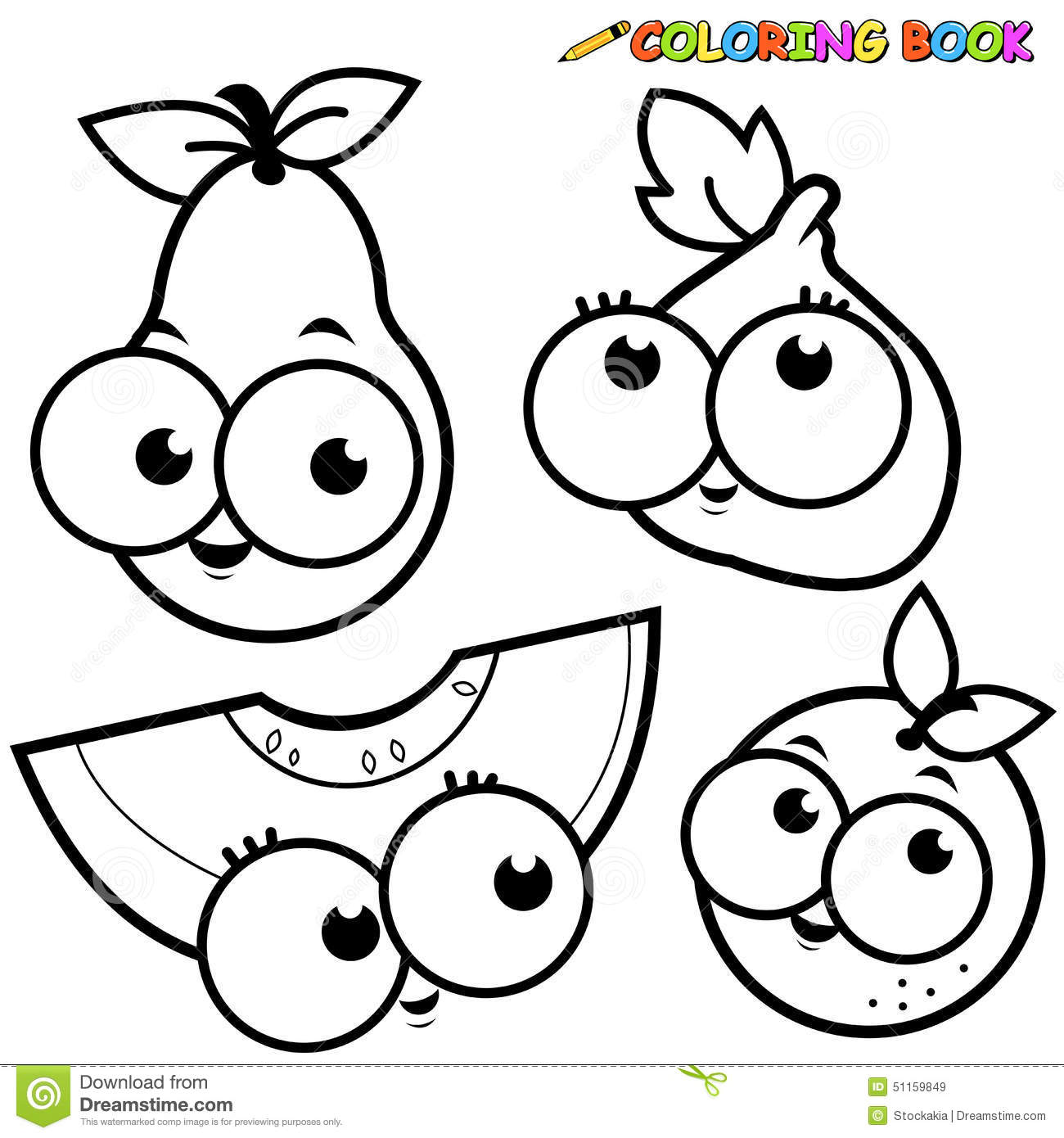 Cartoon Fruit Coloring Pages Fruits Coloring Pages ...