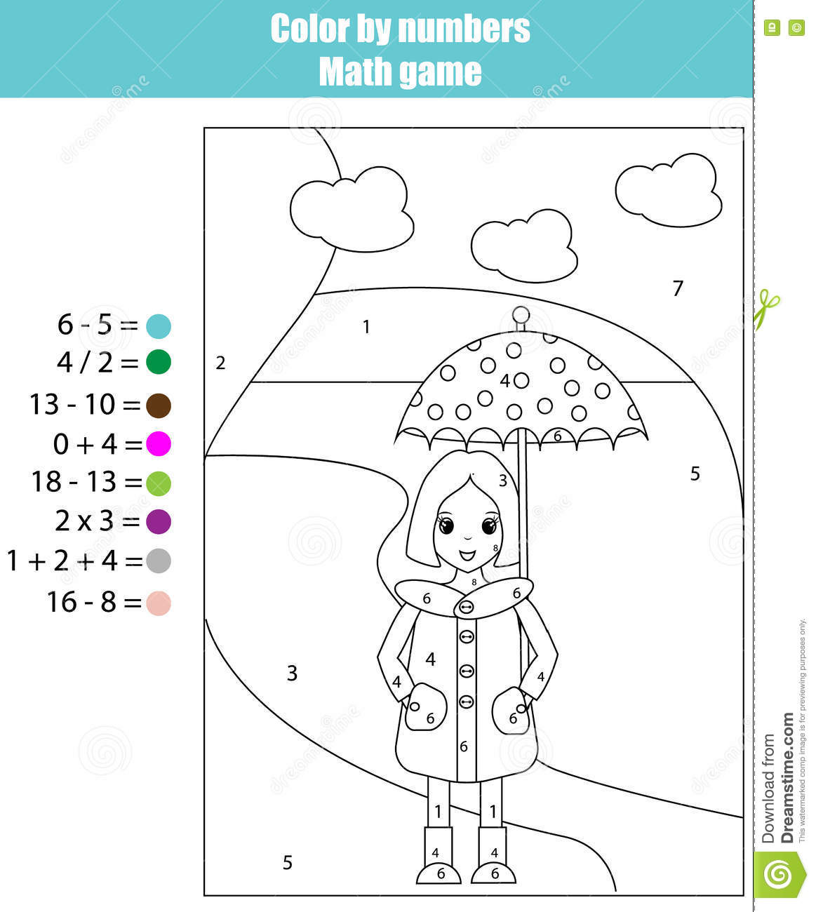 coloring page with color by numbers math game stock vector