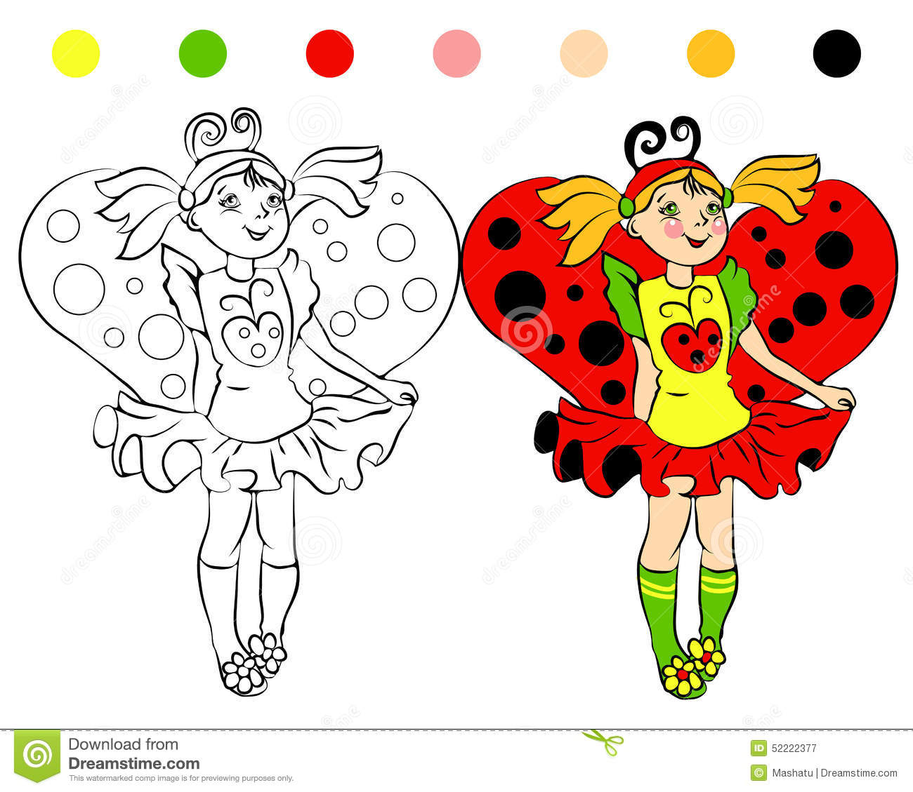 Coloring Page Girl In Costume Ladybug Stock Vector Illustration Of