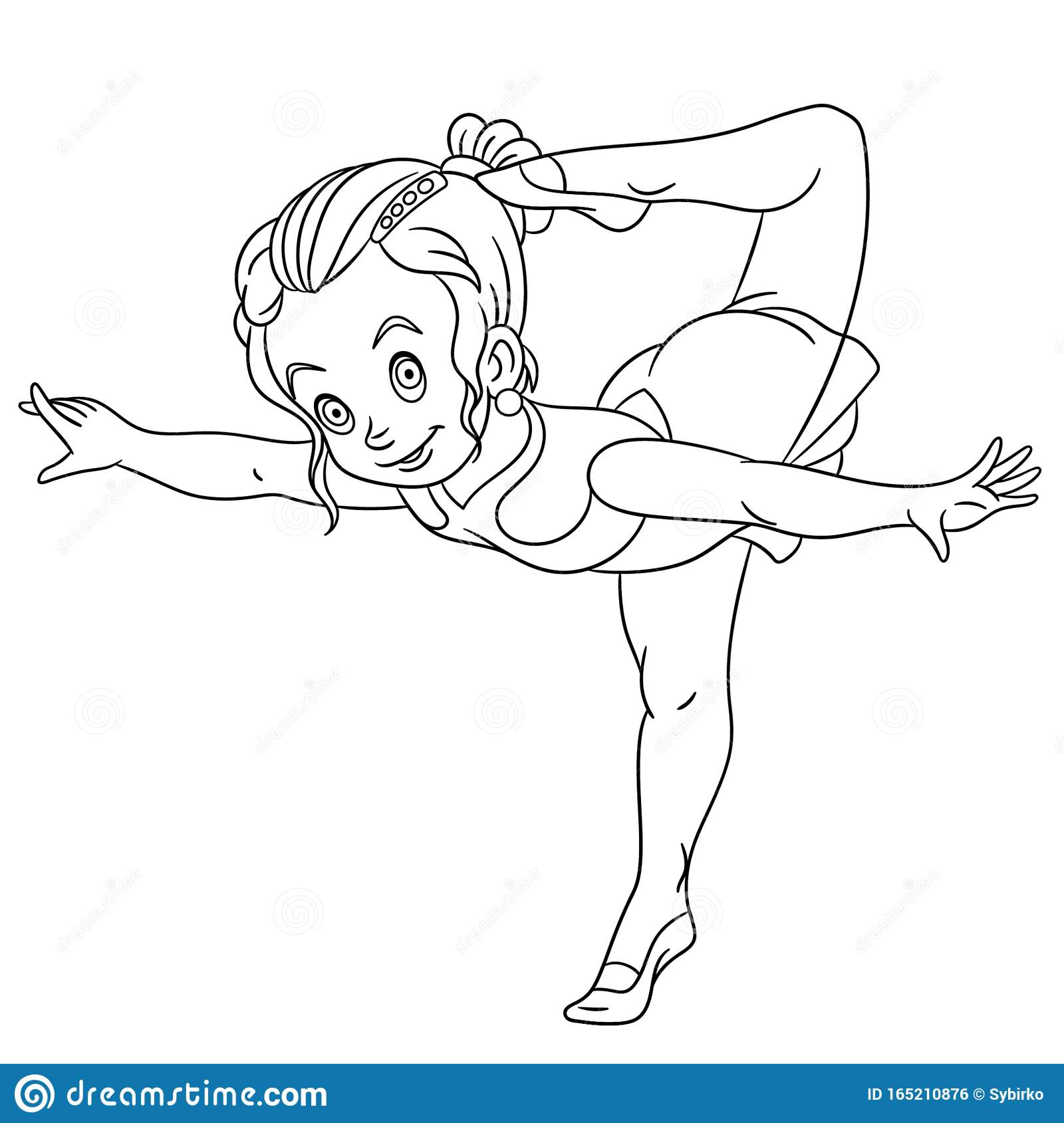Coloring Page With Girl Rhythmic Gymnastic Or Ballet Stock Vector Illustration Of Child Drawing 165210876