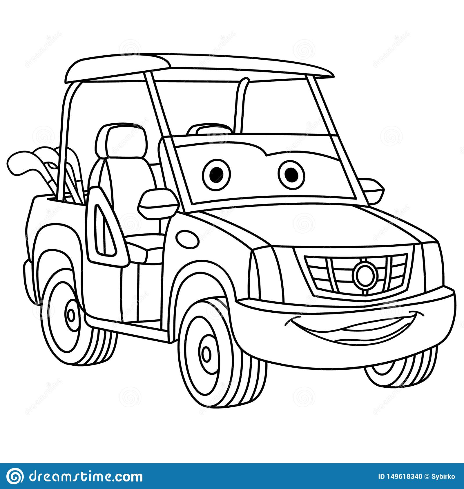 Coloring Page With Golf Car Stock Vector Illustration Of