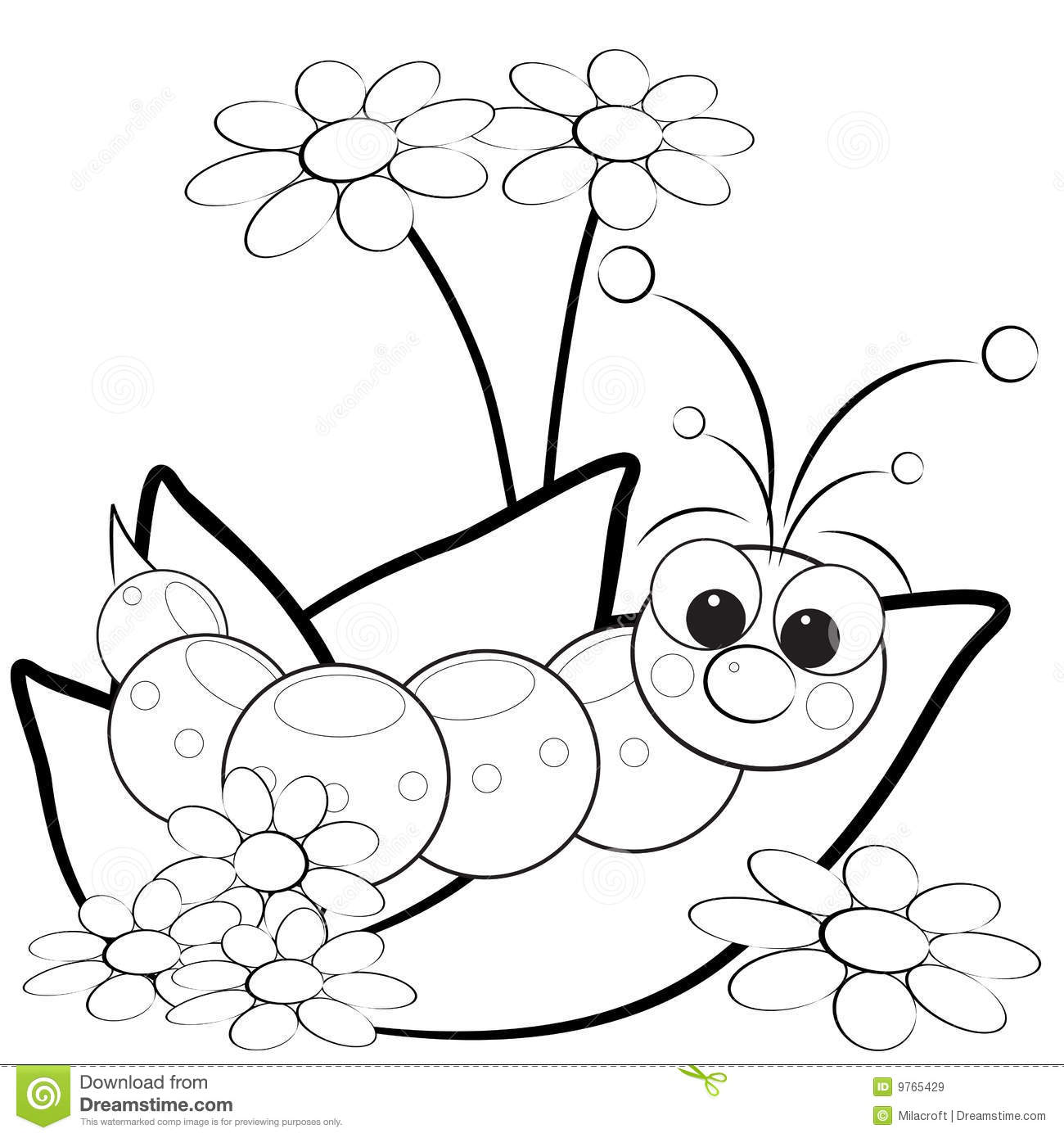 Coloring Page - Grub And Flowers Stock Vector - Illustration of ...