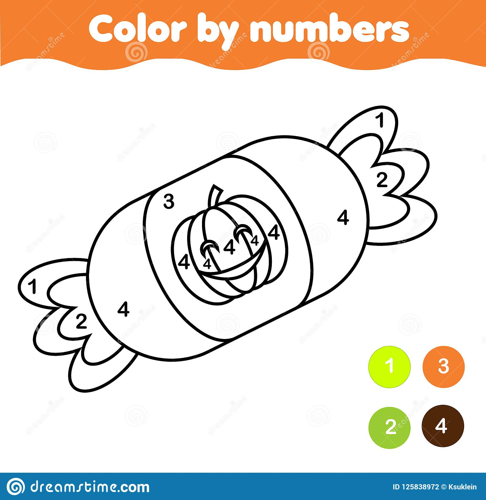 Coloring page with halloween candy. Color by numbers printable activity