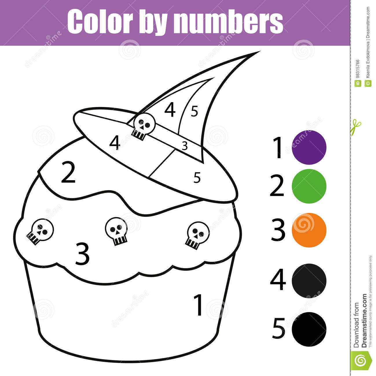 photograph about Color by Numbers Halloween Printable identified as Coloring Website page With Halloween Cupcake. Coloration By way of Quantities