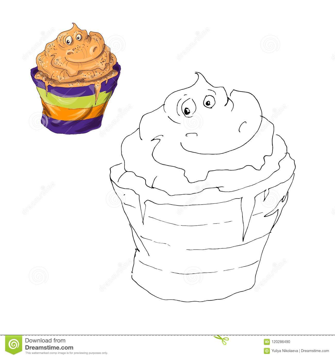 Coloring Page. Halloween Cupcake. Color By Numbers ...