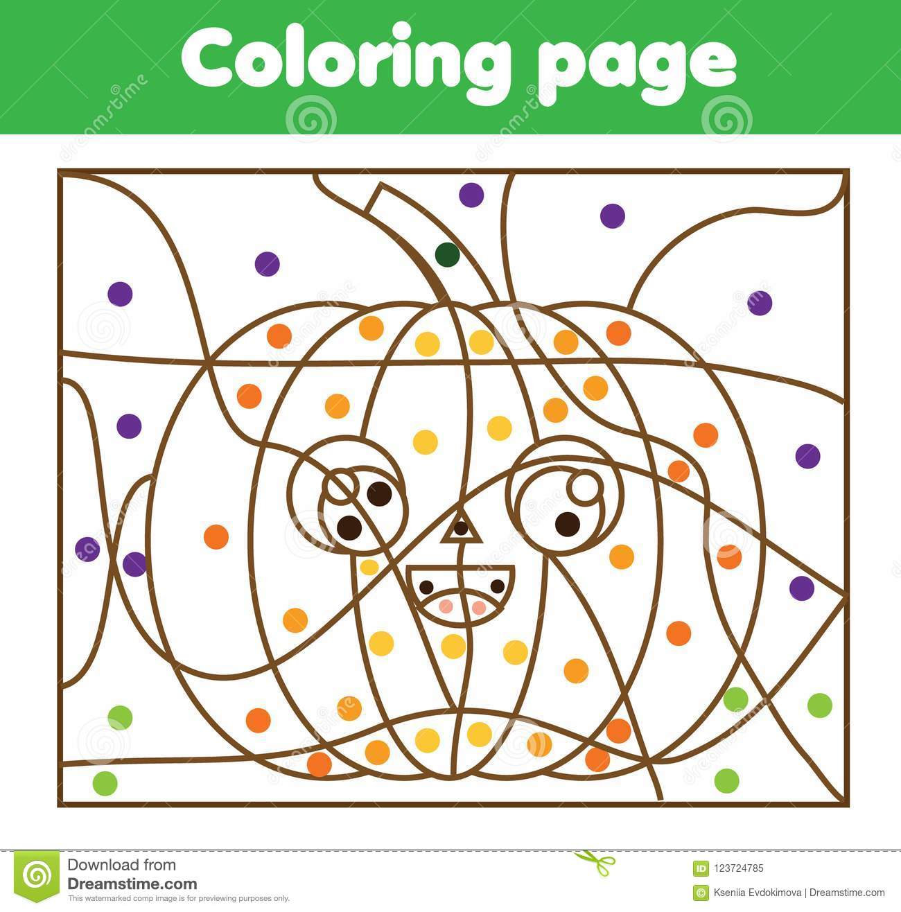 Coloring Page With Halloween Pumpkin Color By Dots Printable