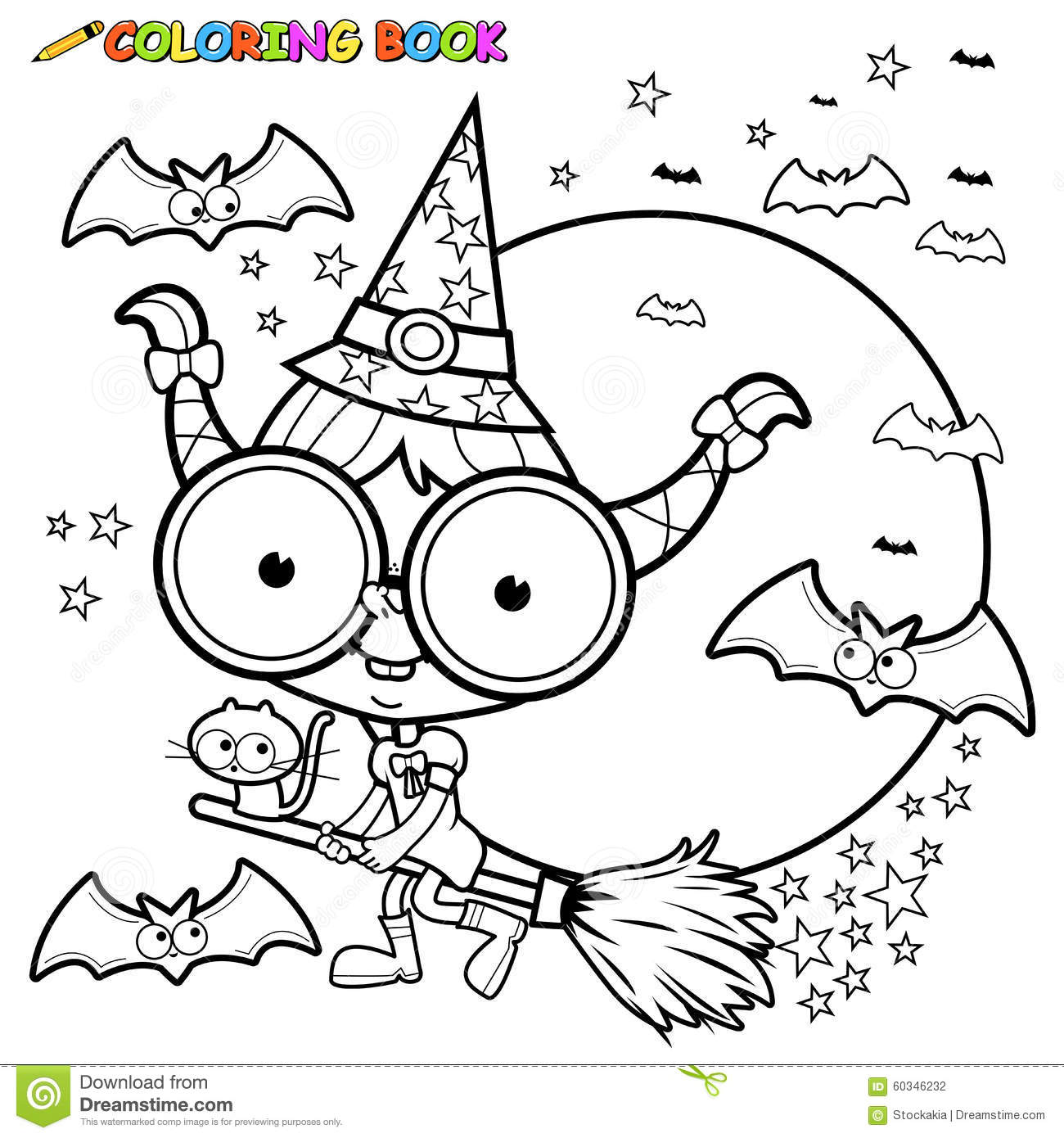 Coloring Page Halloween Witch Flying With Broom Stock Vector ...
