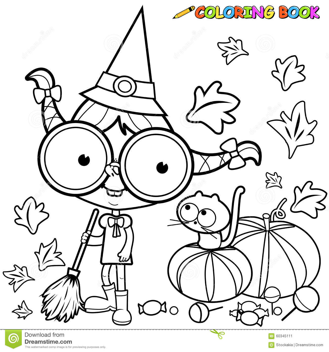 Coloring Page Halloween Witch Sweeping Pumpkin Leaves. Stock Vector ...