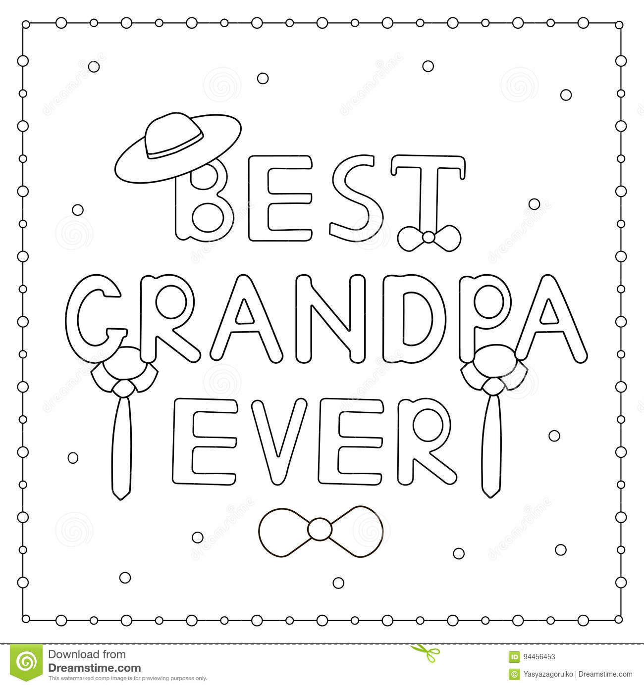 The Coloring Page With Hand Drawn Text Stock Vector - Illustration ...