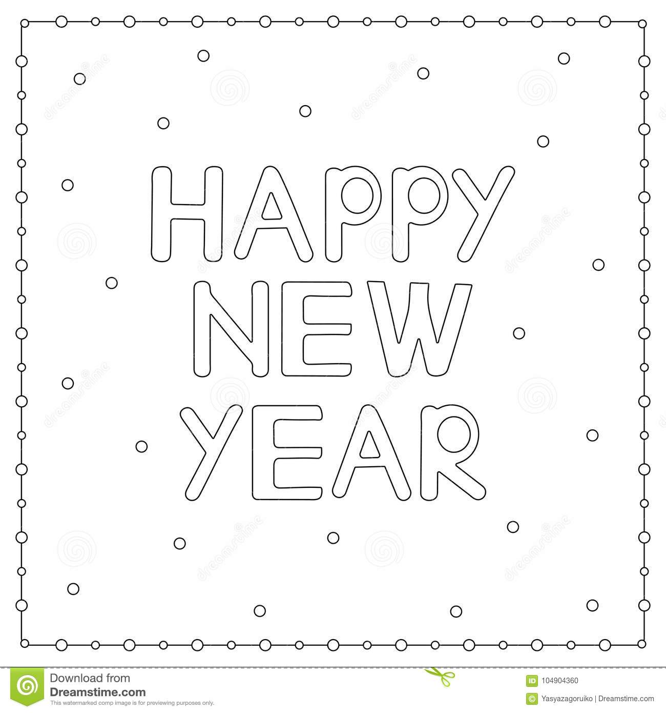 Download Coloring Page With Hand Drawn Text Happy New Year Stock Vector