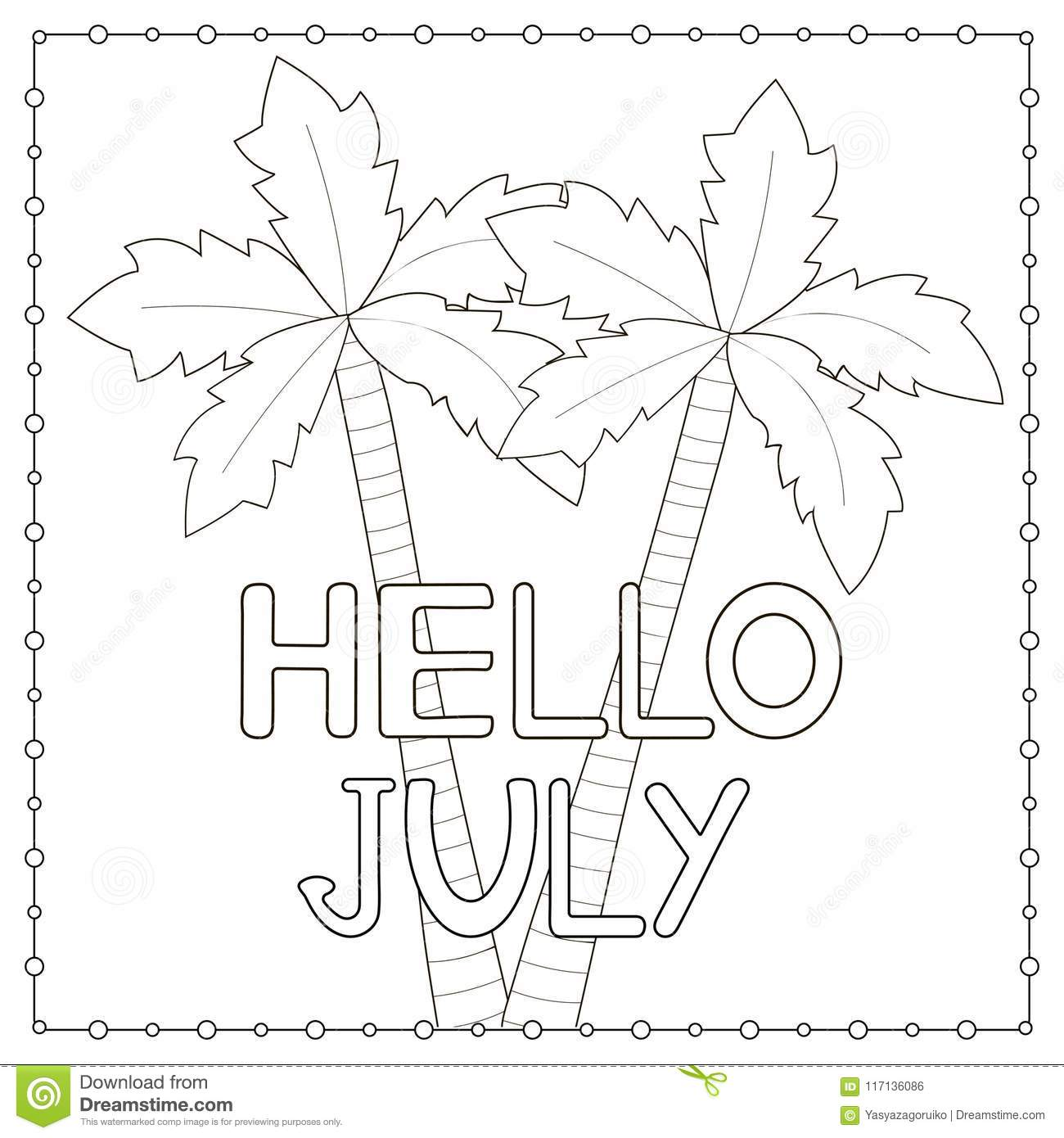 Coloring Page With Hand Drawn Text Hello July And Palm Trees Stock - Palm-tree-coloring-page