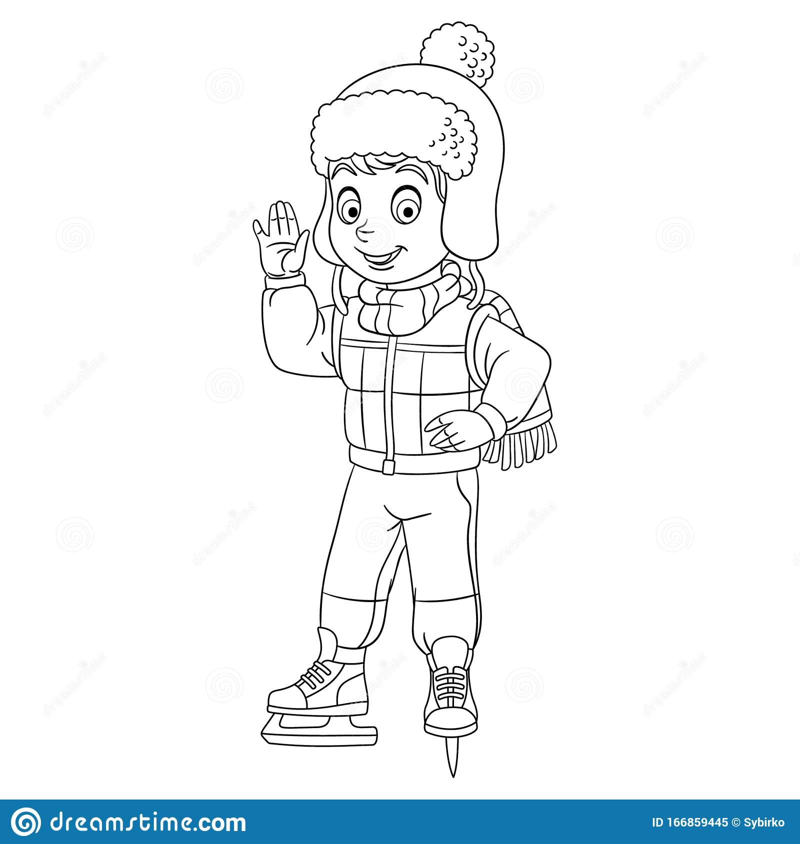 Coloring Page With Happy Boy Skating Stock Vector ...