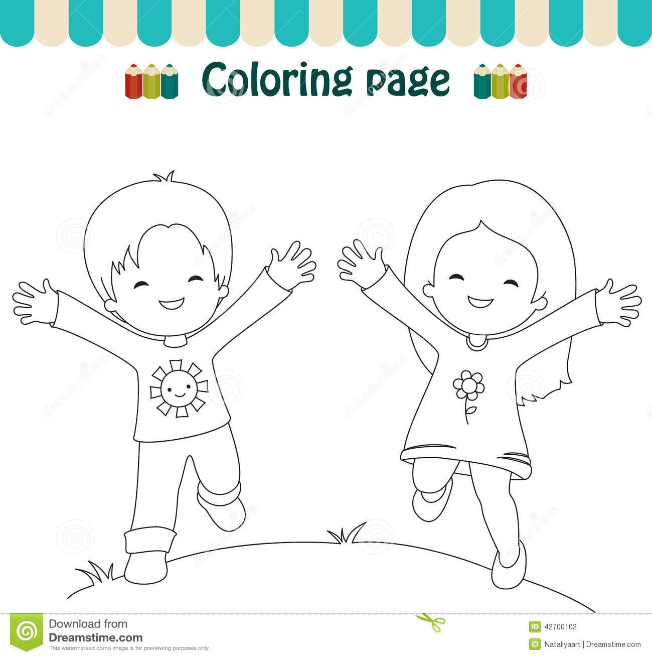Coloring page cheerful boy and girl outside
